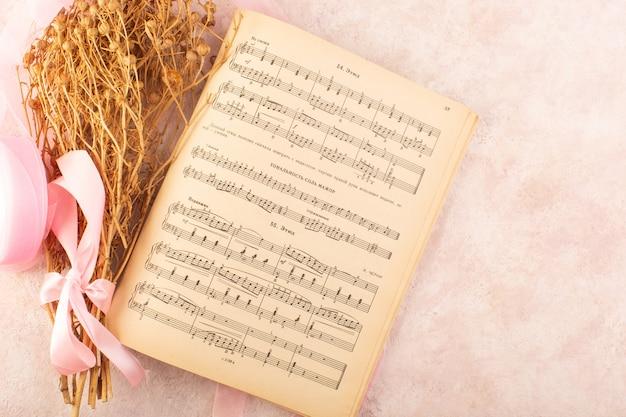 Peganum harmala planta junto con el cuaderno de notas sobre la mesa rosa planta música de fotografía en color