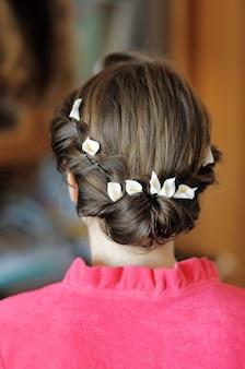 Peinado de boda de belleza de cerca