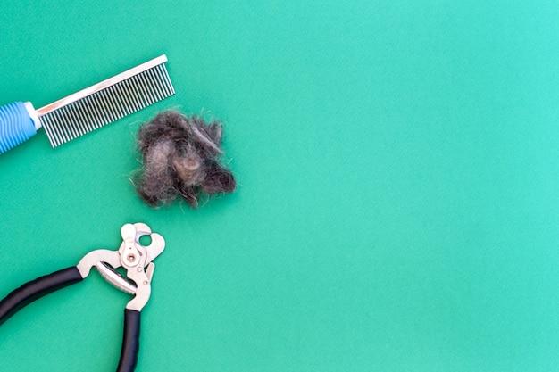 Peine de herramientas de aseo, tijeras para uñas y un trozo de pelo de mascota, plano. espacio para texto. concepto de aseo.