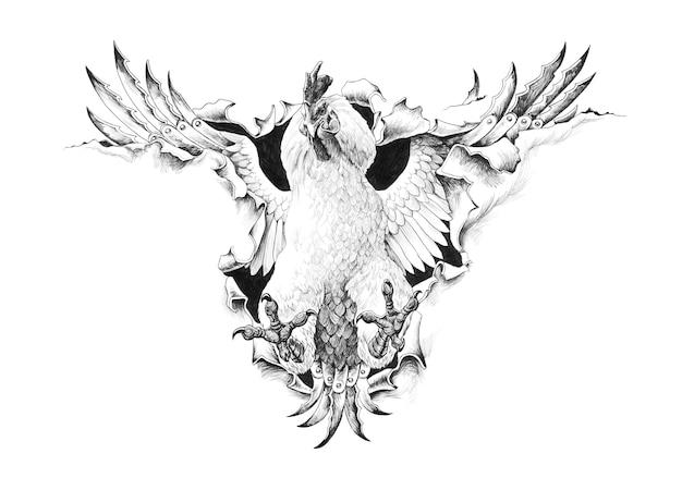 Pelea de gallos rompe la ilustración del lápiz