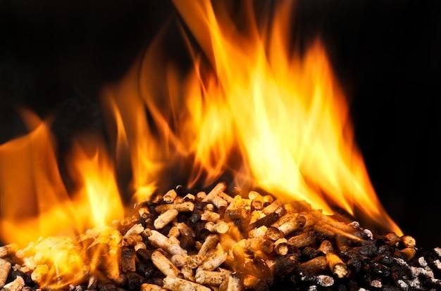 Pellet de leña ardiente