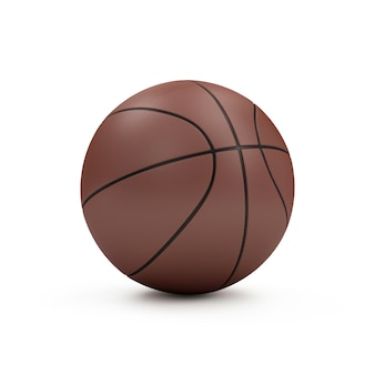 Pelota de baloncesto marrón aislada sobre fondo blanco. concepto de deporte y recreación