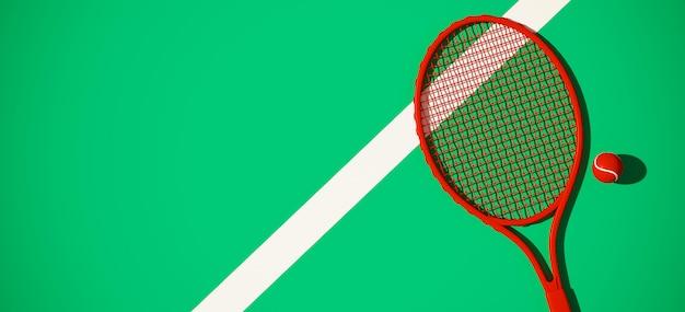 Pelota de tenis y raqueta sobre fondo verde cancha de tenis