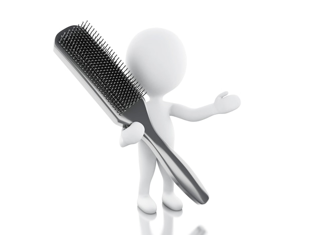 Peluqueria 3d con cepillo para el pelo.