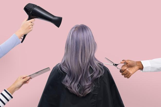 Peluquería y peluquería para mujeres, trabajos de peluquería y campaña profesional.