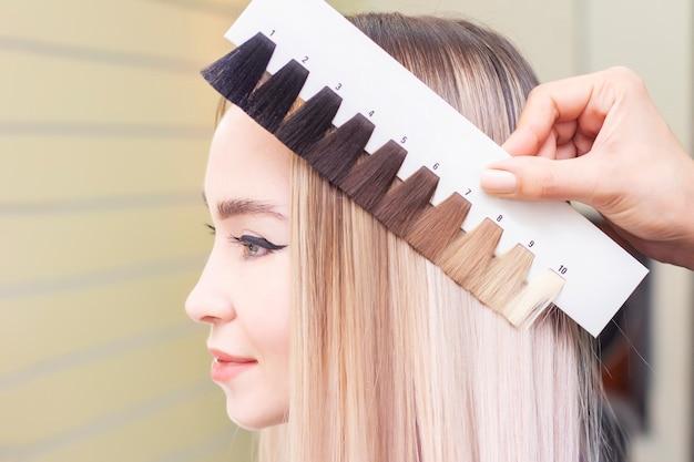 El peluquero selecciona el color del cabello en la paleta del catálogo.