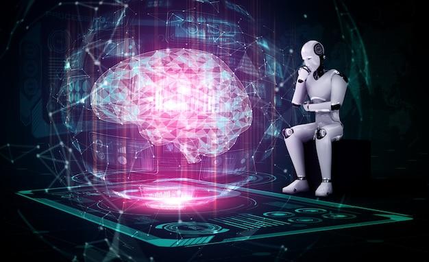 Pensando en el robot humanoide ai analizando la pantalla del holograma que muestra el concepto de ai