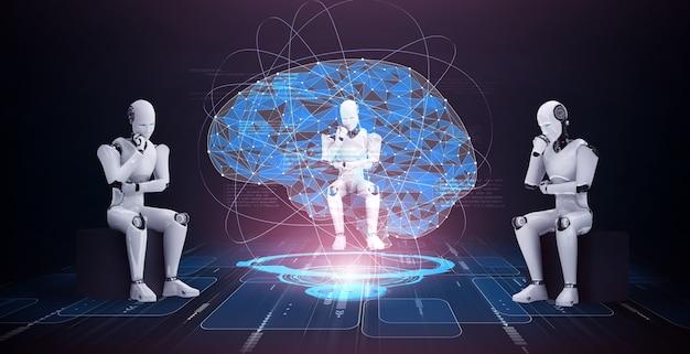 Pensando en el robot humanoide ai analizando la pantalla del holograma