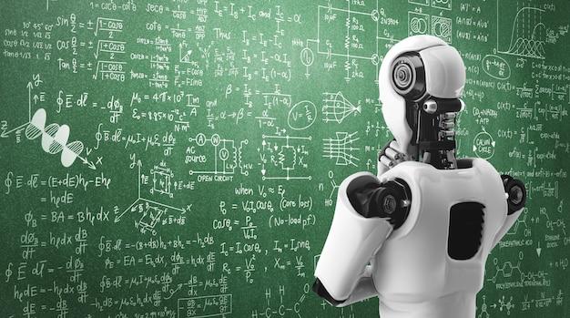 Pensando en el robot humanoide ai que analiza la pantalla de la fórmula matemática y la ciencia