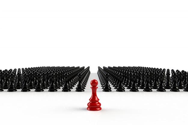 Peón de ajedrez rojo y negro sobre blanco