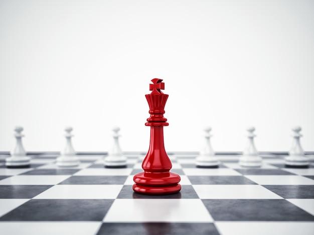 El peón rojo se diferencia de la masa. concepto de singularidad y liderazgo. representación 3d