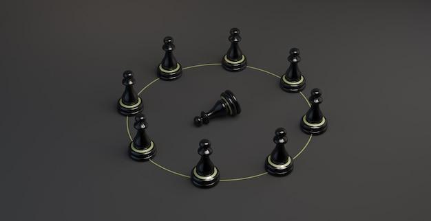 Peones de ajedrez en un círculo con peón caído. ilustración 3d. bandera.