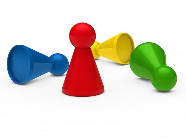 Peones del ajedrez de colores