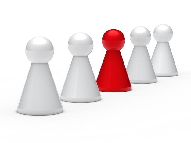 Peones del ajedrez y uno rojo
