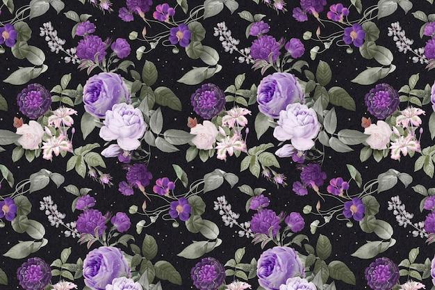 Peonía púrpura patrón floral acuarela vintage