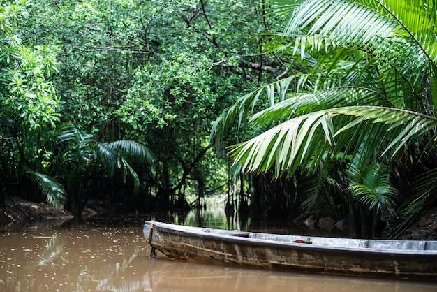 La pequeña amazona en pang-nga en el canal tailandia de sang nae