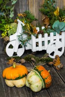 Pequeña calabaza en la pared de madera, otoño