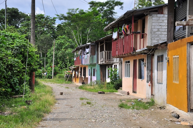 Pequeña calle en el pueblo al lado de la jungla