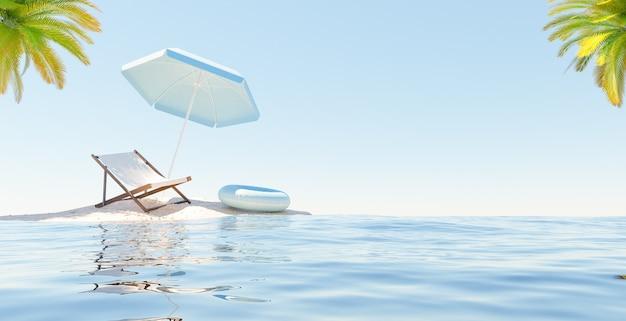 Pequeña isla con hamaca, sombrilla y flotador. palmeras en las esquinas. concepto de vacaciones. representación 3d