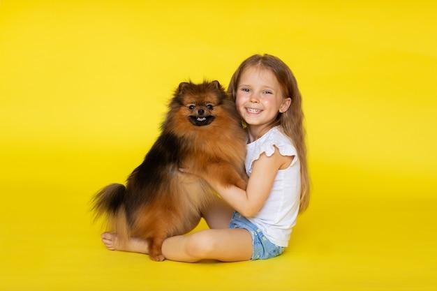 Pequeña muchacha linda que presenta con el pequeño perrito rojo del perro de pomerania en fondo amarillo. copia espacio