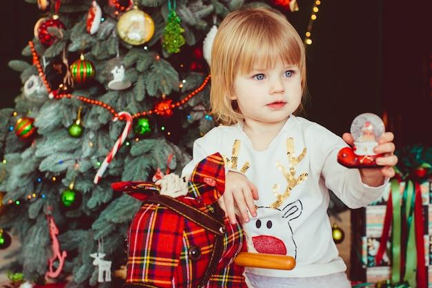 La pequeña niña sentada en el hobbyhourse
