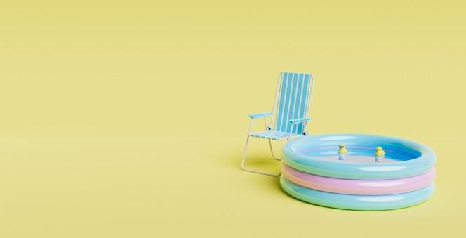 Pequeña piscina inflable con patitos de goma en el interior y silla de exterior junto a ella. escena minimalista. concepto de fondo de verano. espacio para texto. render 3d