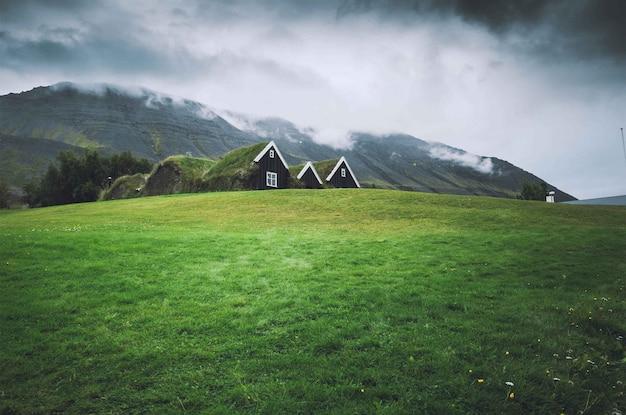 Pequeñas casas en un campo verde con cielo oscuro