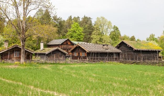 Pequeñas casas en la montaña de noruega.