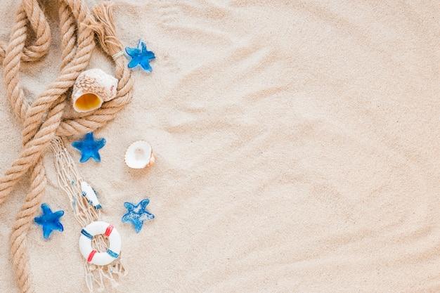 Pequeñas conchas marinas con cuerda náutica sobre arena.