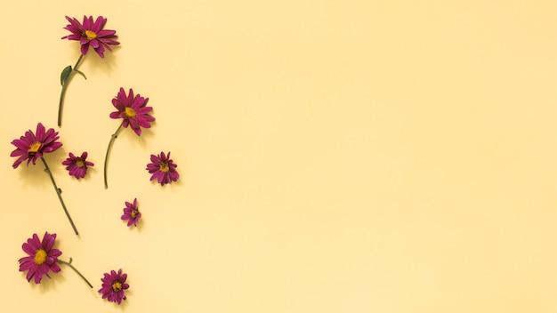 Pequeñas flores rosas esparcidas sobre mesa.
