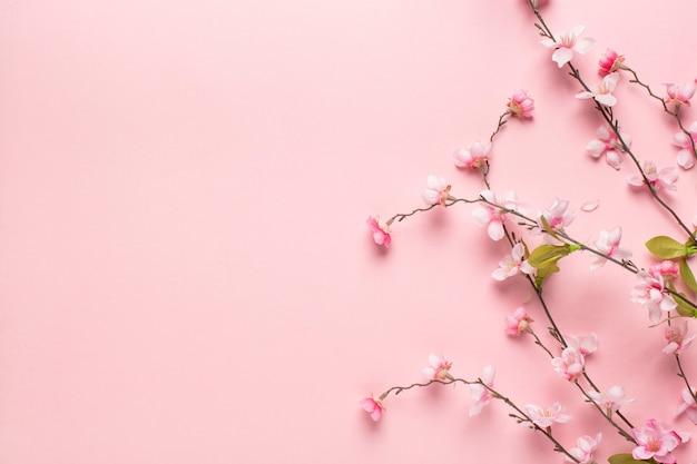 Pequeñas ramas de flores rosadas hermosas