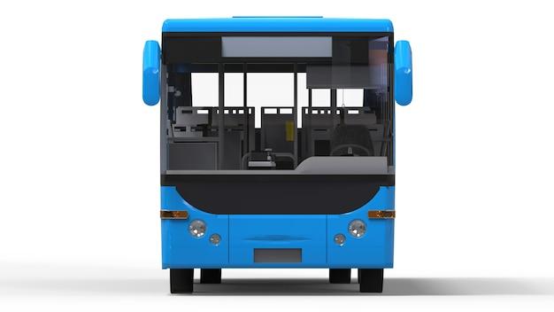 Pequeño autobús azul urbano en blanco