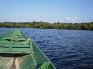 Un pequeño barco en el río amazonas