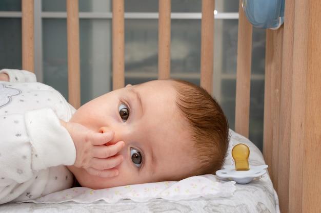 Pequeño bebé que pone en la cuna que chupa el dedo en boca.