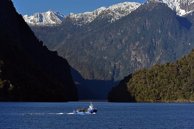 Pequeño bote en el lago rodeado de densos bosques