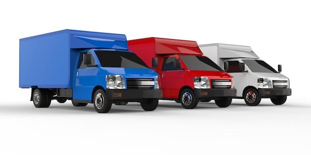 Pequeño camión blanco, rojo, azul. servicio de entrega de automóviles. entrega de bienes y productos a puntos de venta.