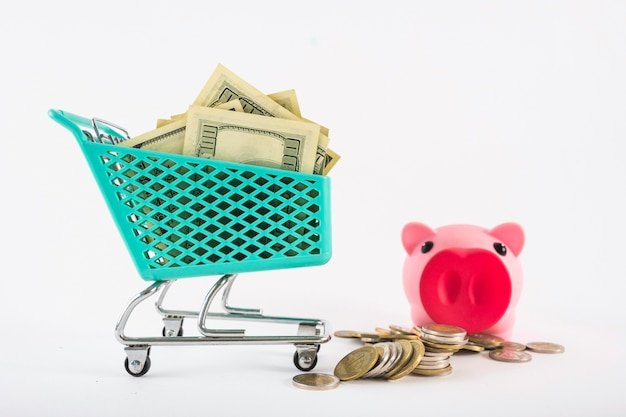 Pequeño carrito de supermercado con dinero y hucha