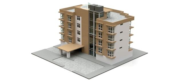 Pequeño condominio blanco y beige con ascensor y garaje. representación 3d.