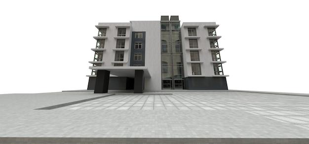 Pequeño condominio blanco-gris con ascensor y garaje