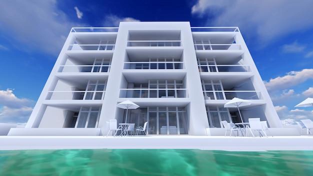 Pequeño condominio funcional con su propia área cerrada, garaje y piscina. área con sombrillas para relajarse en climas cálidos. día soleado de verano con nubes pequeñas