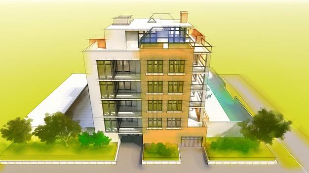 Pequeño condominio funcional con su propia área cerrada, garaje y piscina. ilustración 3d en estilo dibujado a mano, lápiz de imitación y acuarela