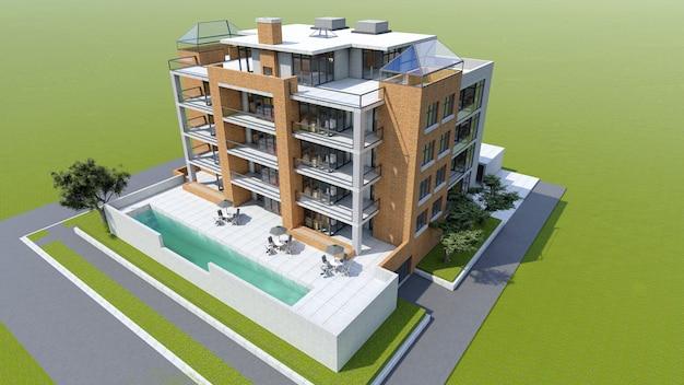 Pequeño condominio funcional con su propia área cerrada, garaje y piscina.