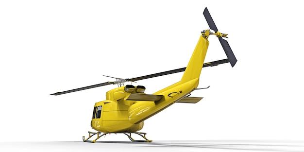 Pequeño helicóptero amarillo del transporte militar en la superficie aislada blanca. el servicio de rescate en helicóptero. taxi aéreo. helicóptero para servicio de policía, bomberos, ambulancia y rescate.