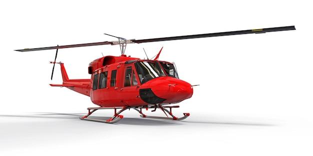 Pequeño helicóptero de transporte militar rojo sobre fondo blanco aislado
