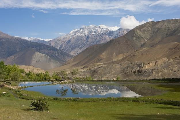 Pequeño lago de montaña con reflejos de picos blancos