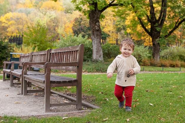El pequeño muchacho sonriente corre en parque autumb. el niño encantador sonríe y tiene alegría. actividades al aire libre para niños