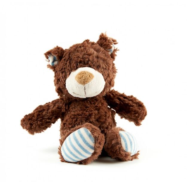 Pequeño oso marrón esponjoso en blanco
