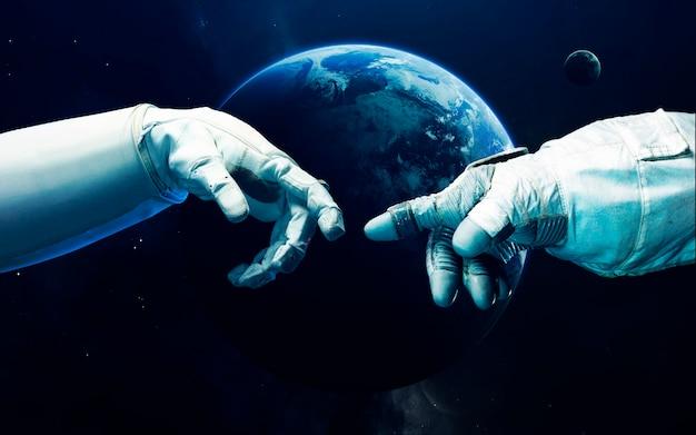 Pequeño planeta azul tierra en el espacio profundo.