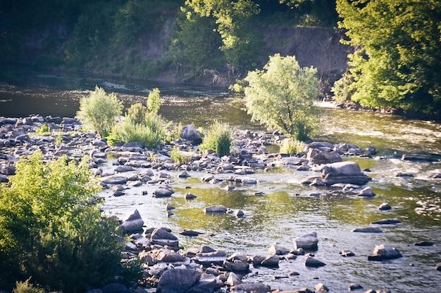 Pequeño río con orillas rocosas y árboles, filtro.