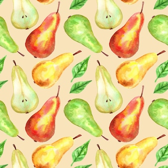 Peras rojas, verdes, amarillas. patrón sin costuras. ilustración acuarela dibujada a mano. textura para impresión, tela, textil, papel tapiz.